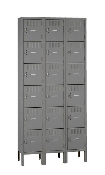 Tennsco BK6-121812-3 Unassembled Steel 6 Tier Box Lockers 3 Wide with Legs 36 x 18 x 78