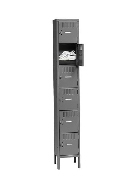 Tennsco BK6-151512-1 Unassembled Steel 6 Tier Box Lockers with Legs 15 x 15 x 78
