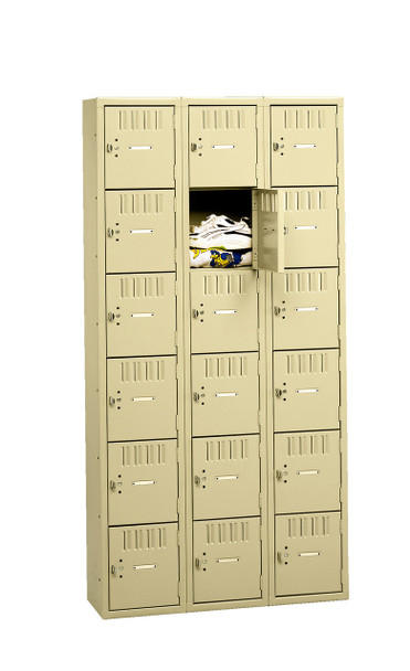 Tennsco BK6-121812-C Unassembled Steel 6 Tier Box Lockers 3 Wide without Legs 36 x 18 x 72