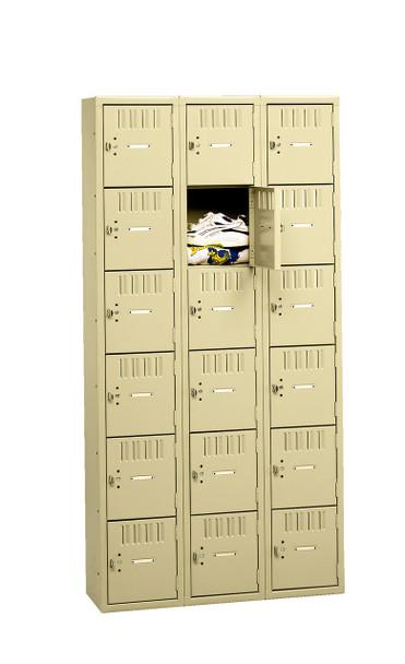 Tennsco BK6-151512-C Unassembled Steel 6 Tier Box Lockers 3 Wide without Legs 45 x 15 x 72