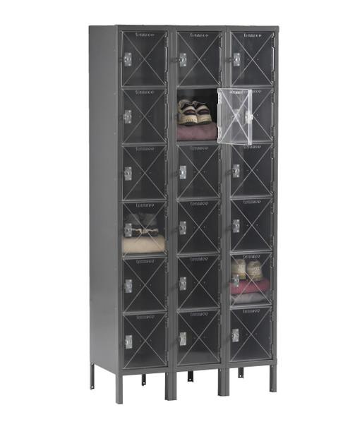 Tennsco CBL6-121212-3 Steel C Thru 3 Wide Box Locker with Legs 36x12x78