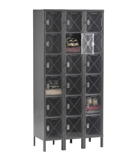 Tennsco CBL6-121512-3 Steel C Thru 3 Wide Box Locker with Legs 36x15x78