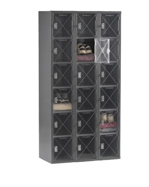 Tennsco CBL6-121512-C Steel C Thru 3 Wide Box Locker without Legs 36x15x72