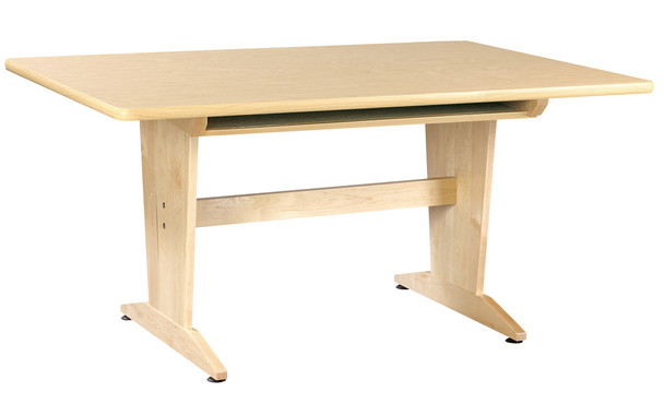 Diversified PT-61PNB Natural Birch Laminate Art Planning Table with Book Compartment 60W x 42D x 30H Maple