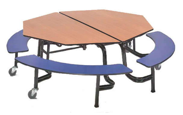 AmTab MBOC604 Octagonal Mobile Bench Cafeteria Table 60 inch Diameter