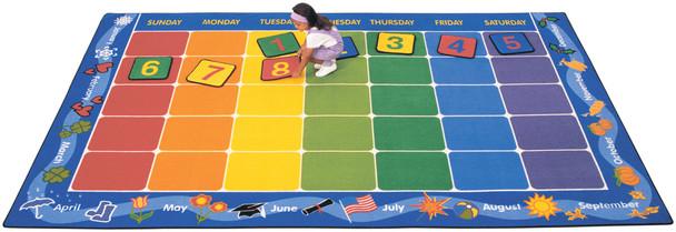 "Carpets for Kids 1112 Premium Collection Rectangle Calendar Celebrations 7' 6"" x 12'"