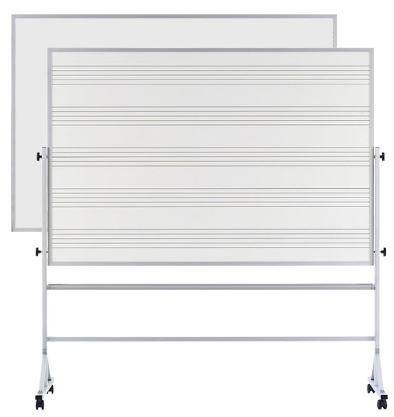 Marsh Industries RA46CMS1S Reversible Markerboard One Side Music Staff and One Side Porcelain Steel 4 x 6