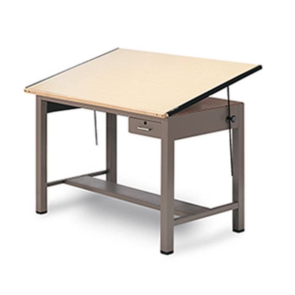 Mayline 7739A Ranger Steel 4 Post Drafting Table with Tool Drawer 43 x 84
