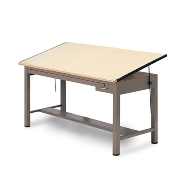 Mayline 7734B Ranger Steel 4 Post Drafting Table with Tool and Shallow Plan Drawer 37 x 48
