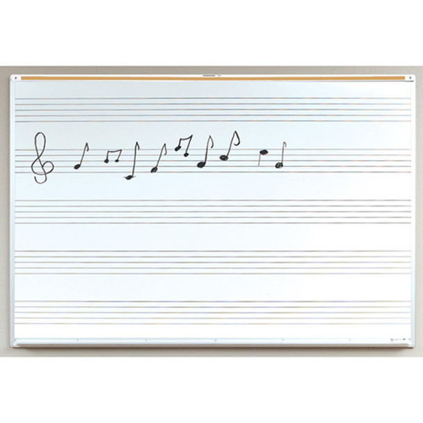 Marsh Industries PR41200MS Pro-Lite White Porcelain Markerboard with Music Staff and Aluminum Trim 48 H x 144 W