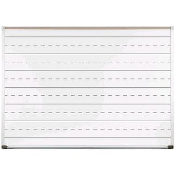 Marsh Industries PR40800PL Pro-Lite White Porcelain Markerboard with Penmanship Lines and Aluminum Trim 48 H x 96 W