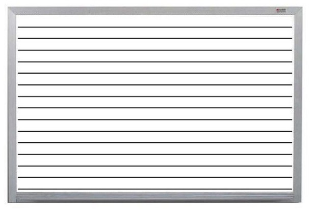 Marsh Industries PR40800HL Pro-Lite White Porcelain Markerboard with Horizontal Lines and Aluminum Trim 48 H x 96 W