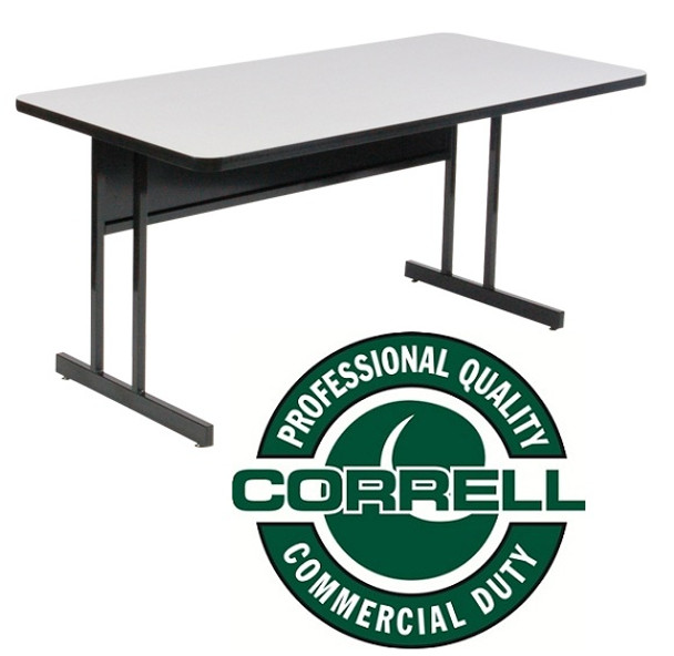 Correll WS3060 High Pressure Laminate Top Computer Desk Height Work Station 30 W x 60 L Fixed Height