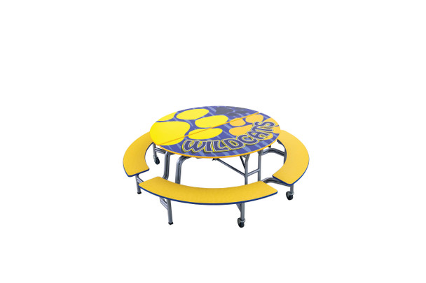 AmTab MBR604 Round Mobile Bench Cafeteria Table 60 inch Diameter