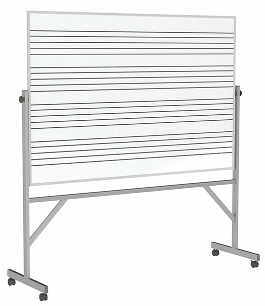 Ghent GARM1M134-MS1 Aluminum Frame Double Sided Whiteboard- 1-Side Music Staff Whiteboard 3 x 4