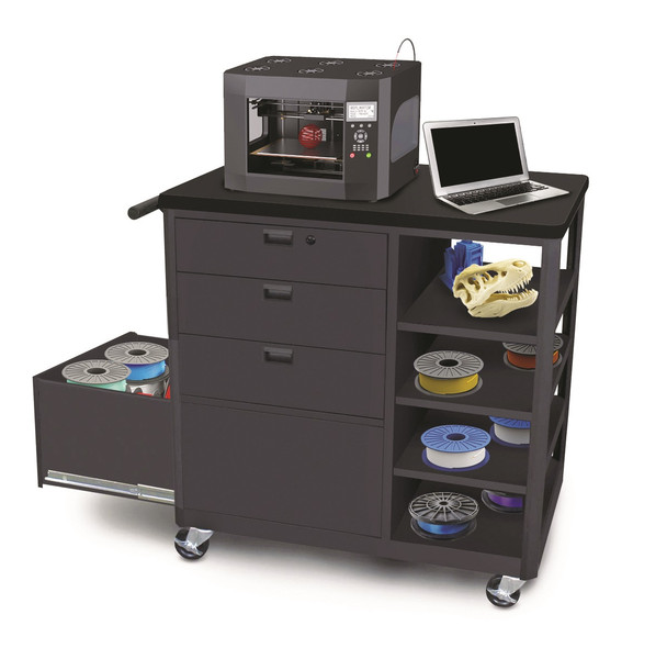 MVG3624BKBK-3 Steel 3D Printer Cart with Three Storage Drawers and Four Side Shelves