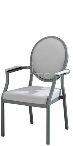 MTS Seating 95/4A Salon Nesting Dining Side Arm Chair With Traditional Oval Back 18 Inch Seat Height