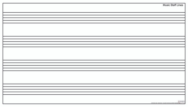 Marsh Industries PR40600MS Pro-Lite White Porcelain Markerboard with Music Staff 48 x 72