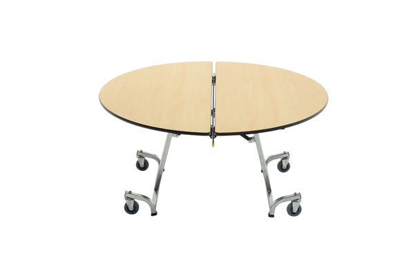 AmTab MRD48TL Mobile Cafeteria Table Round 48 Diameter with T Legs
