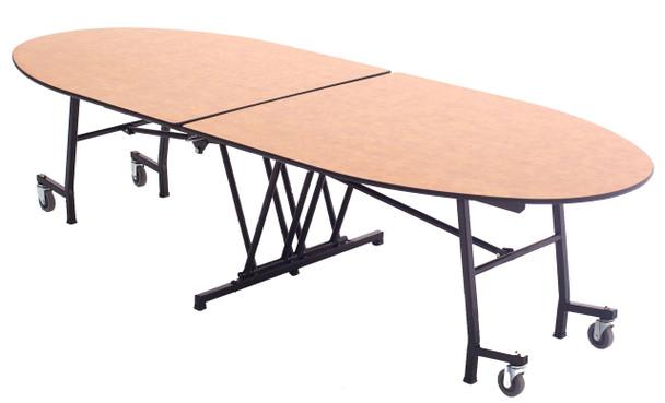 AmTab MTE1046 Mobile Cafeteria Table Elliptical Shape 10 Feet Long