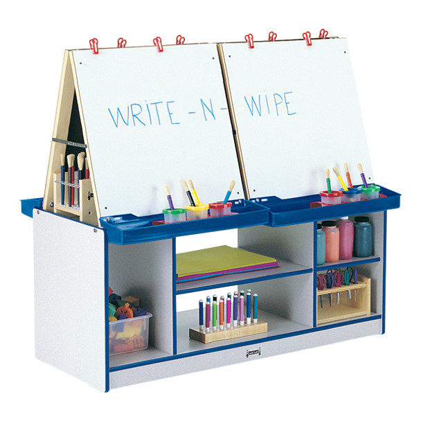 Jonti-Craft 0294JCWW Rainbow Accent Easel Center with 4 Stations