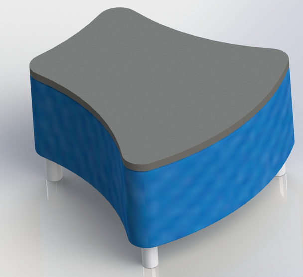Scholar Craft 112xSPTop Access Series Vertebrae Ottoman Soft Seating with Writable Solid Plastic Top 30 W x 30 L x 19 H
