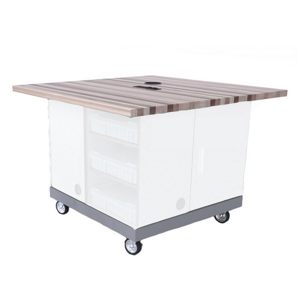 CEF QP-34BASE Quad Pod Table with Steel Frame and Butcher Block Top