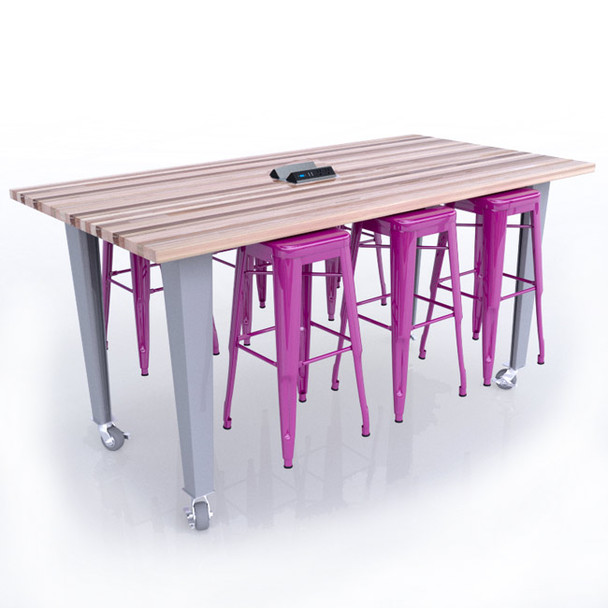 CEF ID42-6 Idea Island Table 42 inch Height with Six Stools and Electrical Station