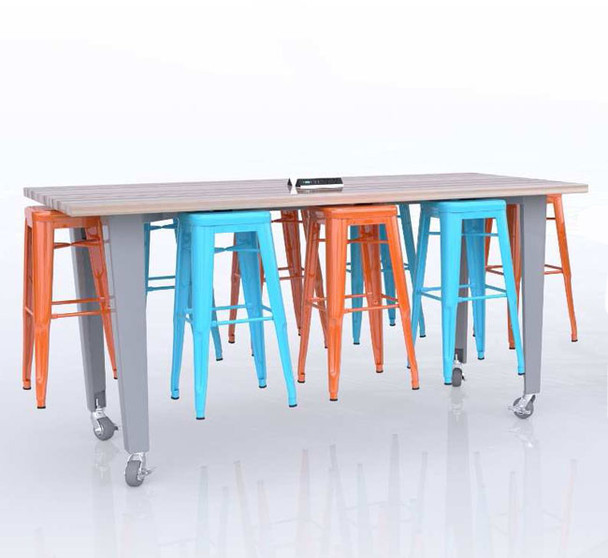 CEF ID42-8 Idea Island Table 42 inch Height with Eight Stools and Electrical Station