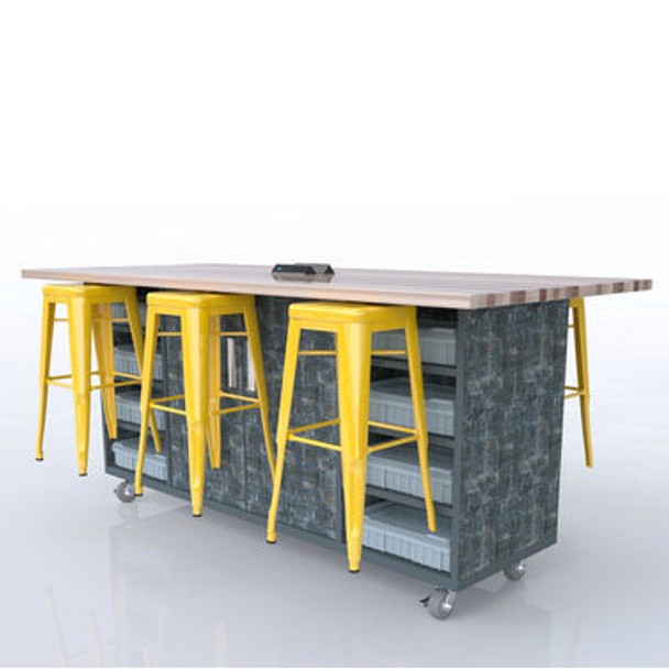 CEF EDL-42 All Inclusive Six Stool ED Double Storage Table with Butcher Block Top and High Pressure Laminate Base 42 inch Height