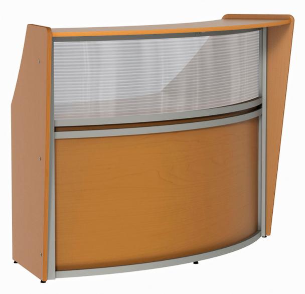 Linea Italia ZU310 Curved Reception Desk with Plexi Glass 72 W x 32 L