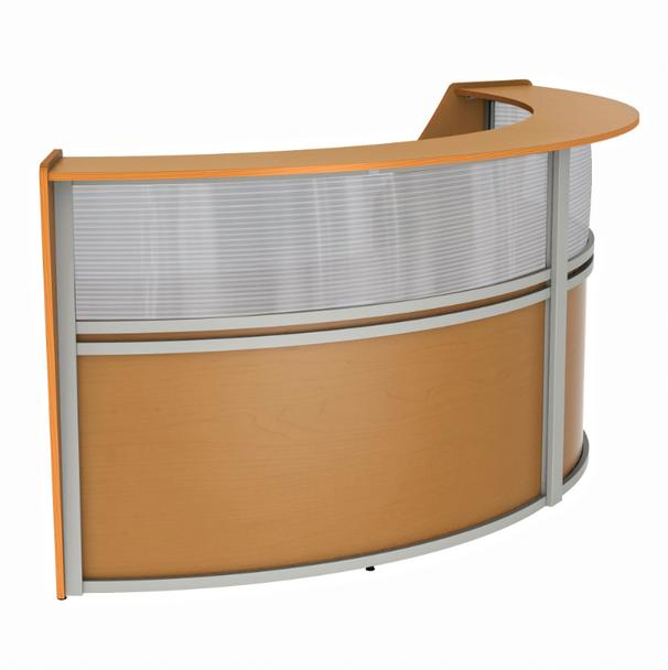Linea Italia ZU316 2 Unit Curved Reception Desk with Plexi Glass 124 W x 49 L