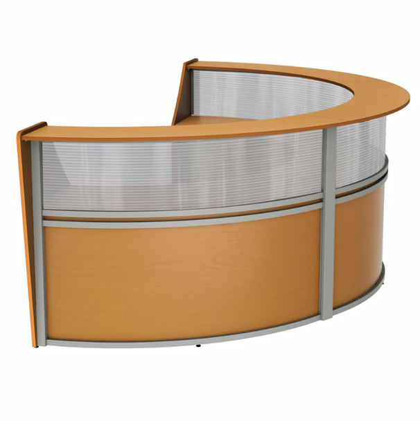 Linea Italia ZU317 3 Unit Curved Reception Desk with Plexi Glass 143 W x 71 L