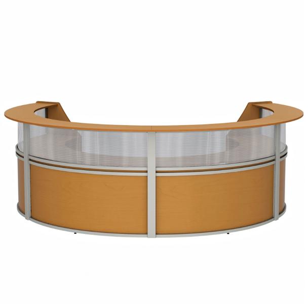 Linea Italia ZU318 4 Unit Curved Reception Desk with Plexi Glass 143 W x 107 L