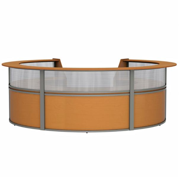 Linea Italia ZU319 5 Unit Curved Reception Desk with Plexi Glass 143 W x 133 L