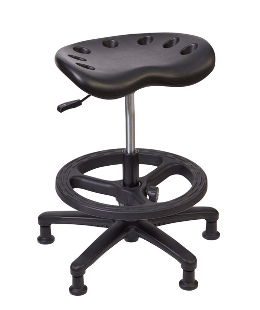 Diversified SE-TR2M Standing Tractor Stool 22 to 23 inch Adjustable Height Black