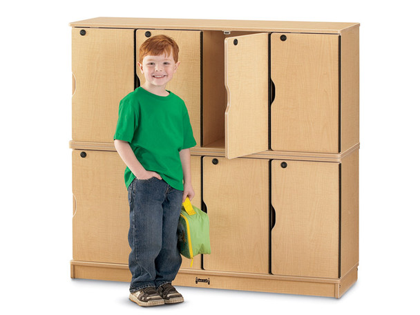 Jonti-Craft 4696JC011 MapleWave Stacking Lockable Lockers Double Stack