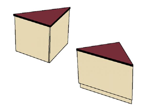 Benchmark Circulation Desk Triangle Corner Unit MediaTechnologies MCD-30TC-32