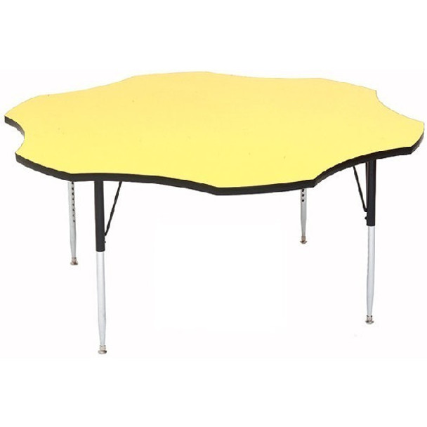 A60-FLR High Pressure Flower Shape Activity Table Blue 60 Inch Diameter Adjustable Height