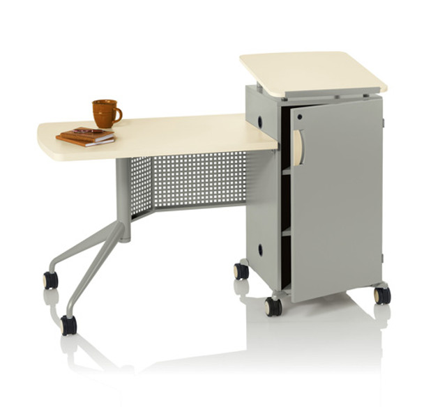 KI ATMTD2460-74P-WSL All Terrain Mobile Instructor's Desk Work Surface On Left