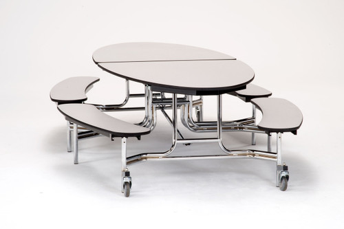 National Public Seating Metbpc Mobile Fixed Height Elliptical Bench Cafeteria Table Powder Coat Frame 60 Inch L Affordable Cafe Stools And National Public Seating Furniture