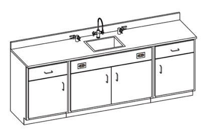 Hann WSB-2222R Laboratory Wall Service Bench With Epoxy Resin Top 24 x 96
