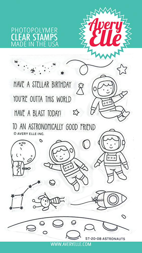 Avery Elle Astronauts Clear Stamps