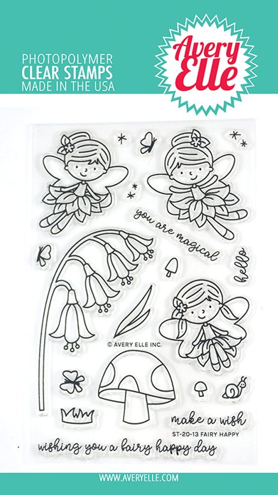 Avery Elle Fairy Happy Clear Stamps