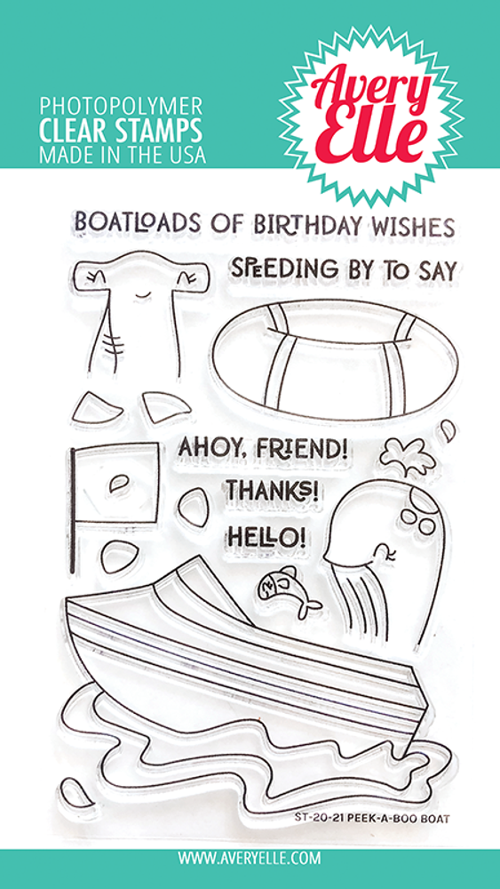 Avery Elle Peek-A-Boo Boat Clear Stamps