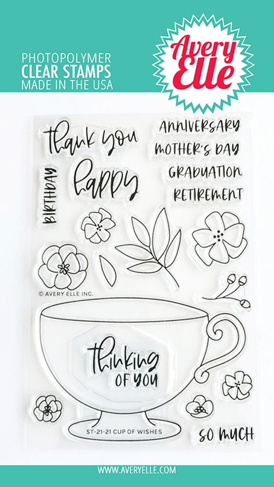 Avery Elle Cup Of Wishes Clear Stamps