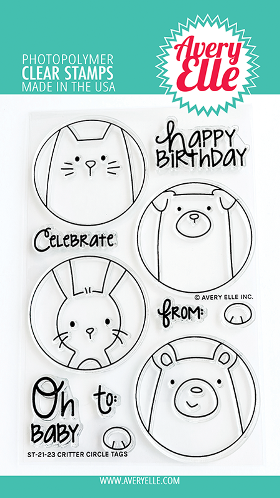 Avery Elle Critter Circle Tags Clear Stamps