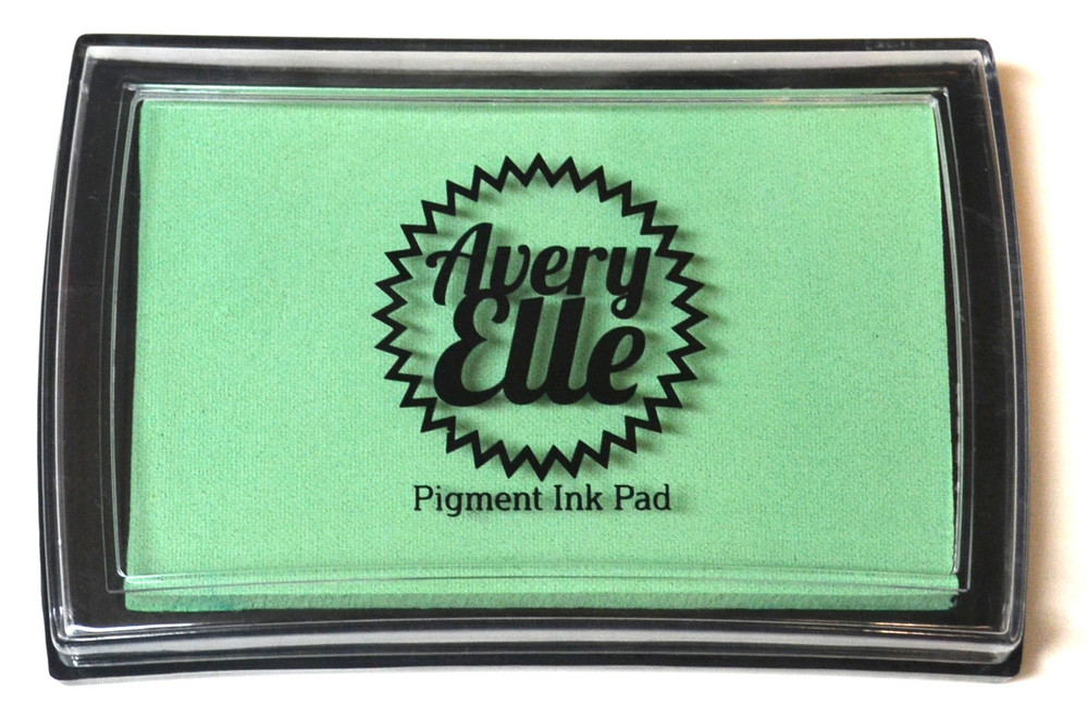 Our Mint To Be Pigment Ink Pad is a gorgeous shade of mint green and matches our Mint To Be premium card stock.  Our water-based premium pigment inks offer fantastic coverage with our clear stamps and are fast drying, embossable, acid free and non-toxic. Made in Taiwan
