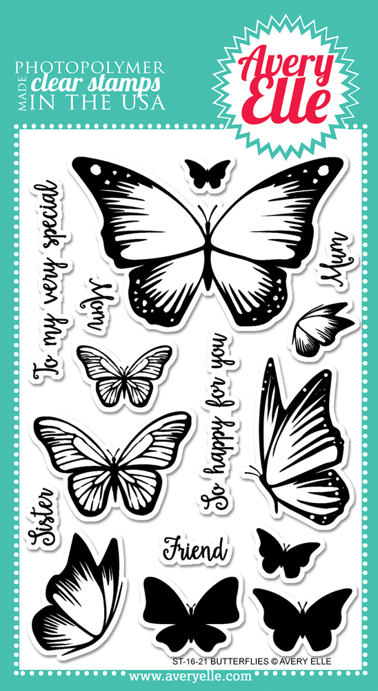 Avery Elle Butterflies Clear Stamps