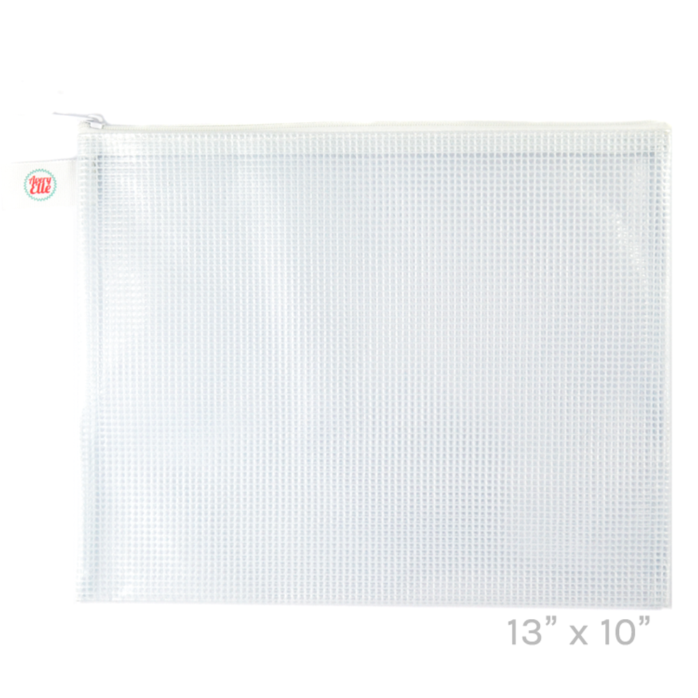 Avery Elle White Large Zippered Vinyl Mesh Pouch